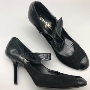 Chanel suede and patent cap toe Mary Janes heels